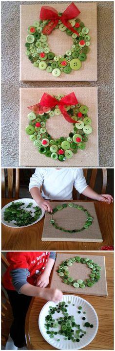 Button Christmas Wreath Craft