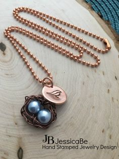 BIRD'S NEST Hand Stamped Necklace by JessicaBe on Etsy