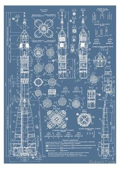 Vintage Soyuz Rocket Blueprints Russian Soviet Era Space ' Poster by Robert Cook is part of Science Photography Space - Digitally Enhanced blueprints from the Russian Soyuz Rocket Rocket Drawing, Nasa Rocket, Arte Nerd, Blueprint Art, Rocket Design, Vintage Space, Vintage Art, Patent Drawing, E Mc2