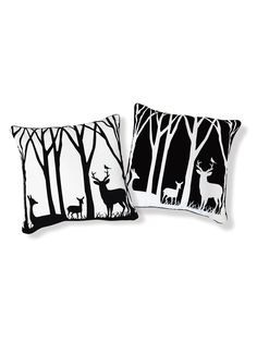 I love this black and white combination!!!!!     Day & Night at the Forest Pillow | VAULT