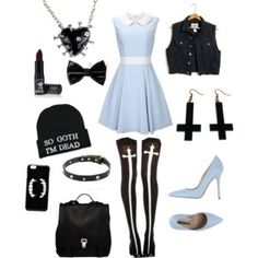 Light blue pastel goth//minus the beanie and vest (maybe change the vest to a thin cardigan)