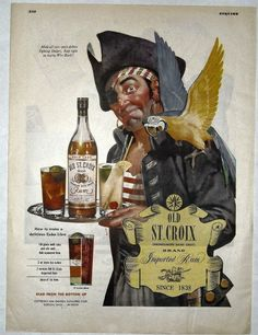 OLD ST CROIX IMPORTED RUM, PIRATE & PARROT 1944 WWII MAGAZINE PRINT AD #StCroix