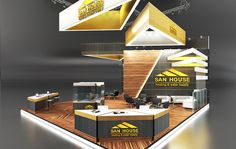 San House Heating & water Supply booth design. #wood #yellow #gray http://iastrebov.com/portfolio/exhebition-design/196-2/