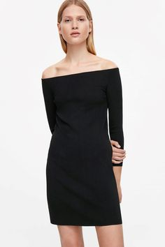 COS Off-the-shoulder dress in Black; would also work with a bra, partic. red