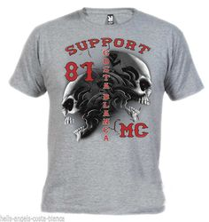 1C Tribal Sculls Grey T-Shirt Support81 Big Red Machine Hells Angels Spain #HellsAngelsSupport81 #GraphicTee