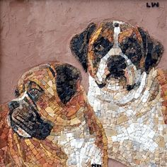 Dogs mosaic portrait,made by Deposito do studio,Brazil. Mosaic Art, Mosaic Glass, Stained Glass, Mosaic Designs, Mosaic Patterns, Mosaic Portrait, Mosaic Animals, Collage, Instagram