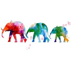 Watercolor art - watercolor painting print - elephant wall decor - animal painting watercolor on Etsy, $15.00