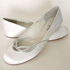 Wedding Shoes And Bridal Shoes: Benjamin Adams Wedding Shoes, Renee Ivory Bridal Flats With Rhinestones, 9.5M BUY IT NOW ONLY: $95.0