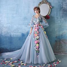 Formal Evening Dress - Sky Blue Petite Ball Gown V-neck Cathedral Train Tulle / Charmeuse – USD $ 200.09