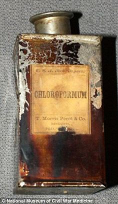 Chloroform in a medicine tin found in a U.S. Medical Dept. hospital knapsack. It was used as an anesthetic during many surgeries