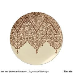 Tan and Brown Indian Lace Vintage Design Pattern Dinner Plates #vintage #indian #motif #pattern