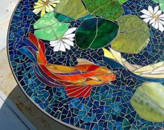 36 MOSAIC dining table top koi mosaic stained by ParadiseMosaics