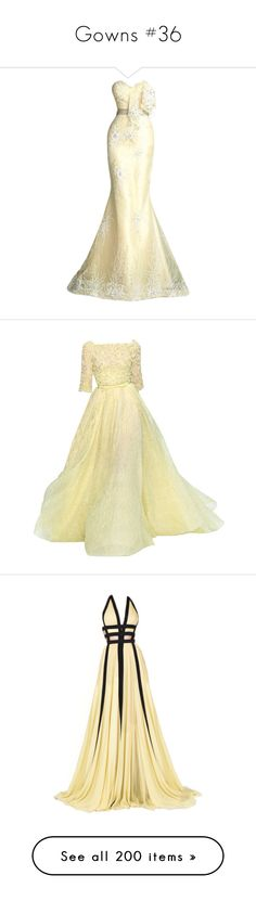 """Gowns #36"" by jewelsinthecrown ❤ liked on Polyvore featuring dresses, gowns, dresses - gowns, formal wear, satinee, beige formal dress, beige evening dresses, formal dresses, formal ball gowns and formal wear dresses"