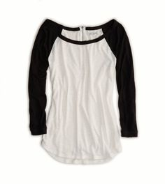 Baseball tee! Love! Cant wait to buy a couple of these in different colors a  great pair of jeans and some cute but comfy flats! !!