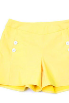 Iris – No. 1022  Price:  $12 – $16    These simple and cute shorts are so quick to sew, you could make them in every color. Pockets are set into a front side seam and optionally close with buttons. The shorts sport a 4 1/2 inch inseam length and close with an invisible side zipper.