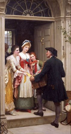 Ribbons and Laces for Very Pretty Faces :: Edmund Blair Leighton - Romantic scenes in art and painting