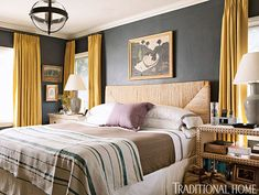 bedroom of Joe Lucas of Harbinger. bedside table and chest from Noir, circa lighting globe pendant, west elm headboard.