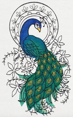 Indian Peacock design (UT13928) from UrbanThreads.com