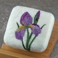 Felted Soap - Bamboo Sweetgrass Scented with a Purple Siberian Iris Design. By Alaiyna B. Bath and Body
