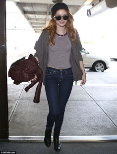 Keeping it casual: Bella sported a laid-back look at LAX on Saturday when the star was en ...