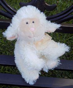 "8"" RUSS BERRIE Cream Colored PLUSH LILI Lamb Sheep PINK NOSE Sheer Peach Bow #Russ"