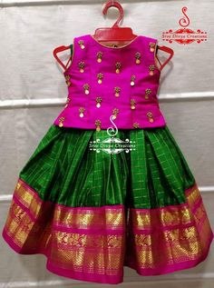 Best 12 Stunning pink pattu kids lehenga and blue color parikini with bird and cage design hand embroidery thread work on yoke. Age : 1 to : 4500 INR 18 February 2019 – SkillOfKing. Baby Girl Frocks, Frocks For Girls, Dresses Kids Girl, Baby Dresses, Kids Indian Wear, Kids Ethnic Wear, Baby Lehenga, Kids Lehenga, Girls Frock Design