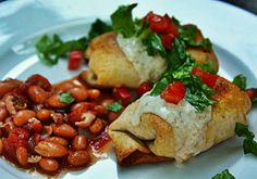Baked chimichangas with green salsa sauce and borracho beans recipe