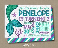 Mermaid Birthday Invitation / Under the Sea by EmryPRINTS on Etsy