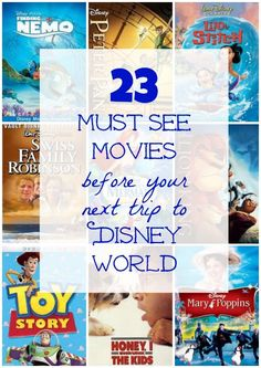Excellent list of movies to see before going to Walt Disney World in Florida! Covers films that link to the park rides and attractions -- great for family movie nights! Viaje A Disney World, Disney World 2017, Disney World Florida, Walt Disney World Vacations, Disney Trips, Disney Worlds, Disney Disney, Funny Disney, Disney Travel