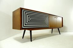 Długa komoda , sideboard, op art design, vintage