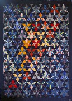 """quilt_075_1 """"Etoiles immobiles"""" - Quilt en tissus japonais"""