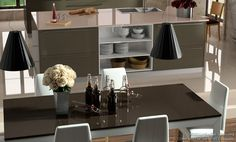 #Kitchen Idea of the Day: Modern gray kitchen table and island. Photo by Compac Quartz.