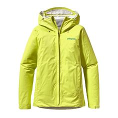 Patagonia Women's Torrentshell Jacket - Mayan Yellow  Pared-down and packable, the Torrentshell Jacket is an H2No® Performance Standard 2.5-layer nylon waterproof/breathable hard shell for seriously wet weather.
