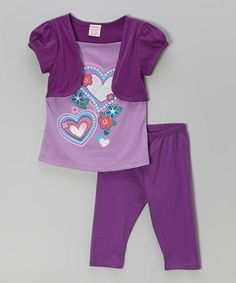 Loving this Purple Hearts Tunic & Leggings - Toddler & Girls on #zulily! #zulilyfinds