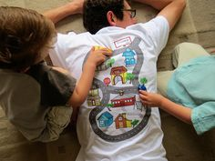 voor papa, mama en de kidsies :-) Car Play Shirt Size XL Full color map for door TheBlueBasketShop