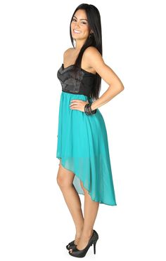 Strapless Dress with Tribal Pattern Studded Bodice and High Low Skirt