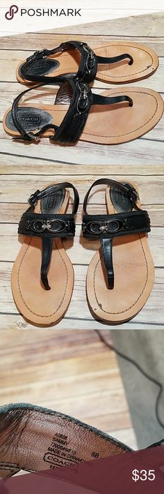 Coach Sammy thong sandals Size 8 black thong sandals from Coach. Style Sammy. Silver tone hardware and black C Coach detail on the front.  Good used condition.  See photos for some marks and signs of wear. These are a quality shoe with lots of life left in them. Coach Shoes Sandals