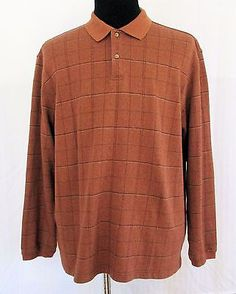 Arrow Men's Long Sleeve Polo Shirt Sz 2XL Rust Checked Cotton Blend