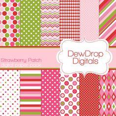 Digital Scrapbooking Paper Pack Fun Scrapbook Papers Kit Strawberry Shortcake green pink white polka dots stripes argyle red. $2.99, via Etsy.