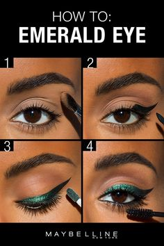 Want to try a new holiday party look?  An emerald eye makeup look is festive but still fierce so it's perfect for this season! Try this step by step shows tutorial using beauty hacks. Apply Better Skin Powder under the eyes so that the dark eye shadow fallout will fall onto the powder, then can be brushed off easily without it getting all over your face. For the cat eye use Master Precise Curvy Liner. Next use Color Tattoo Eye Chrome Liquid followed by Great Lash mascara.