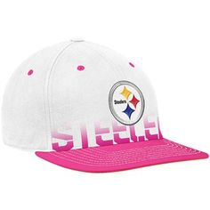 Reebok Pittsburgh Steelers White-Pink Breast Cancer Awareness Flat Brim Flex Hat