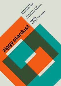 Ziggy Stardust and the Spiders from Mars at the Hammersmith Odeon Reimagined concert poster by designer Mike Joyce for his Swissted project, fusing rock music & swiss modernist design. Graphic Design Posters, Graphic Design Illustration, Graphic Design Inspiration, Typography Design, Poster Designs, International Typographic Style, International Style, Gig Poster, Concert Posters