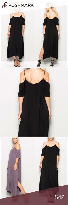 Black Cold Shoulder Maxi Dress A Knit solid bell Sleeve Maxi dress featuring cold shoulder, side slit, open back, a soft and snug Knit material. Made of rayon Spandex blend. Fits true to size. Fabfindz Dresses Maxi