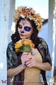 Day of the Dead Crown - Dia de los Muertos Buttercream Wisteria Flowers Shimmery Spider Halloween sugar skull Headband Headdress Fascintor. $48.00, via Etsy.