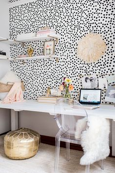 Black and White Office | White, Black, and Gold Office | Spotted Wallpaper