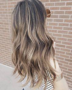 Blonde balayage on brown hair. Gray hair coverage. Via Instagram, @mollyxmackay