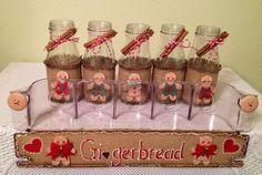 Starbucks Bottle Crafts, Jar Lid Crafts, Gingerbread Crafts, Gingerbread Men, Mason Jar Christmas Gifts, Christmas Ideas, Christmas Crafts To Make And Sell, Canning Jar Lids, Letter Stencils