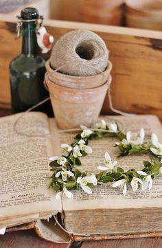 Twine and flower wreath.