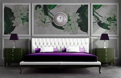 Time for bed!!  Purple velveteen bedspread, ornate floral wall mural, and the sparkling purple & silver fish scale mosaic wall clock!  Passion for #plum decor