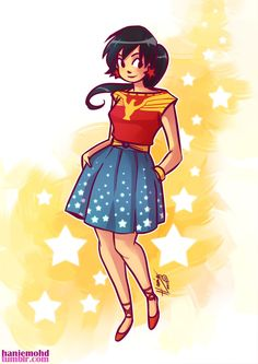 haniemohd:  After drawing Wonder Woman in a dress, it's only fitting that I draw one of Wonder Girl. (also I can't seem to kick out the Wonder Woman/ Wonder Girl themes from my head yet! and would you want to wear this dress? I would totally wear this dress.) Back to sifting through emails and work….graghhedit: this works as a skirt and blouse ensemble. I meant to say that instead of dress, now why did I say dress? Darn this late hours and bad TV shows scrambling up my brain XD